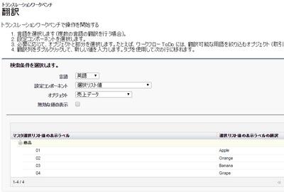 選択リスト 翻訳値(英語)