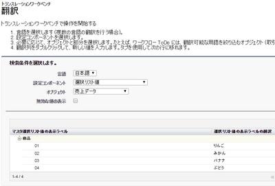 選択リスト 翻訳値(日本語)